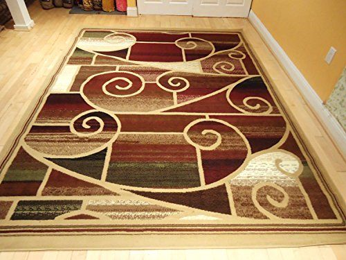 Large 8x11 Red Rug Modern Burgundy Area Rug 8x10 Living Room Rug 5x8 Brown  Green Red