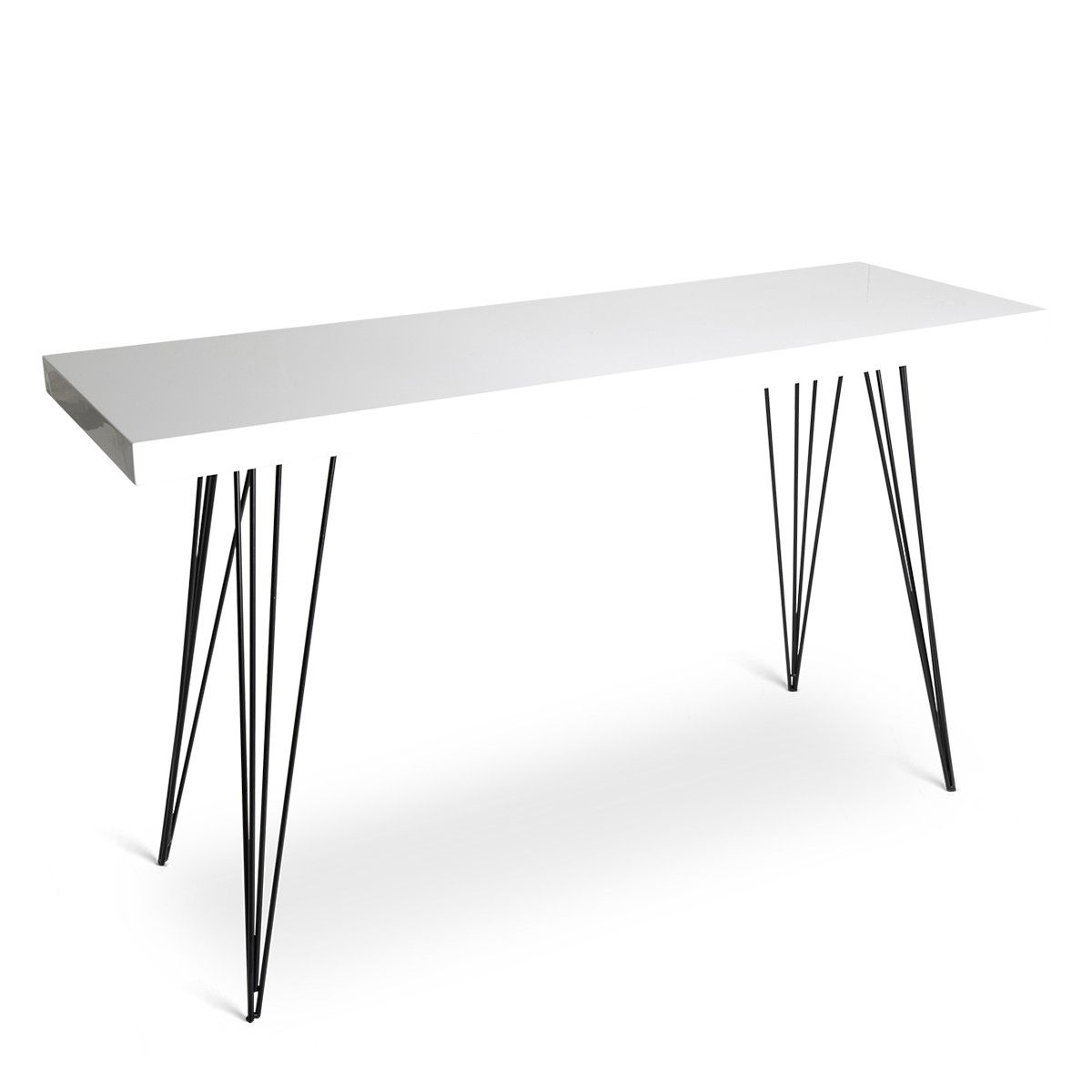 White Laquered Table With Hairpin Legs.