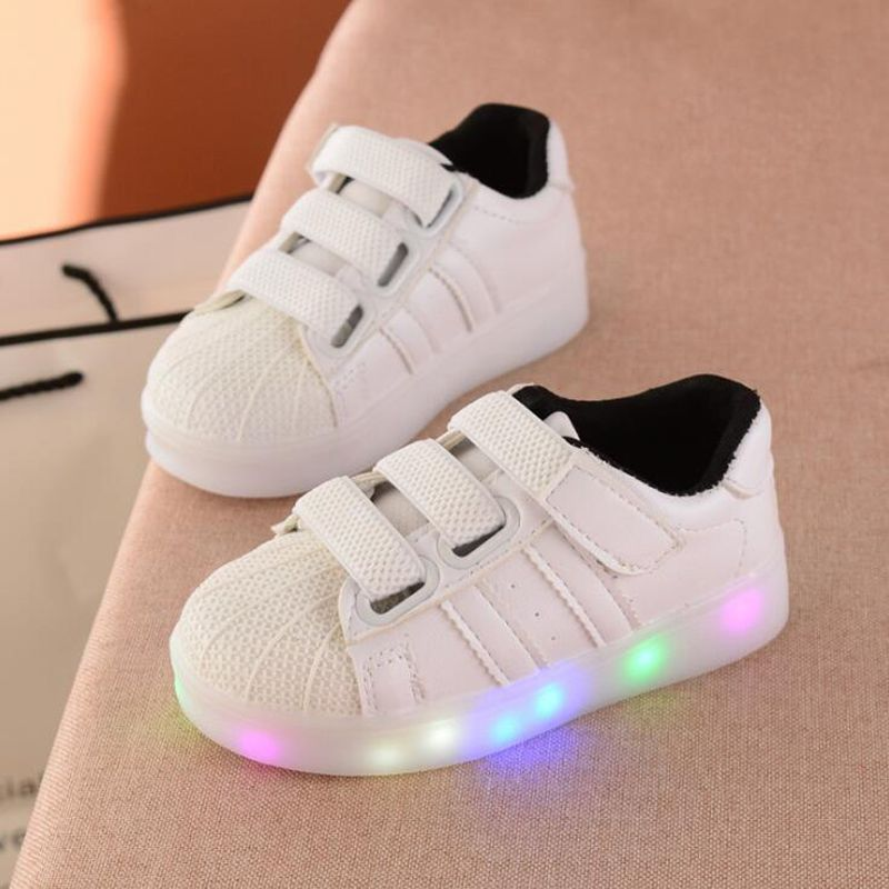 Little Kids Glowing Sneakers Children Shell Tenis Led Shoes Autumn Fashion Boys Girls Casual Hook White Luminous Light Childrens Shoes Kid Shoes Children Shoes