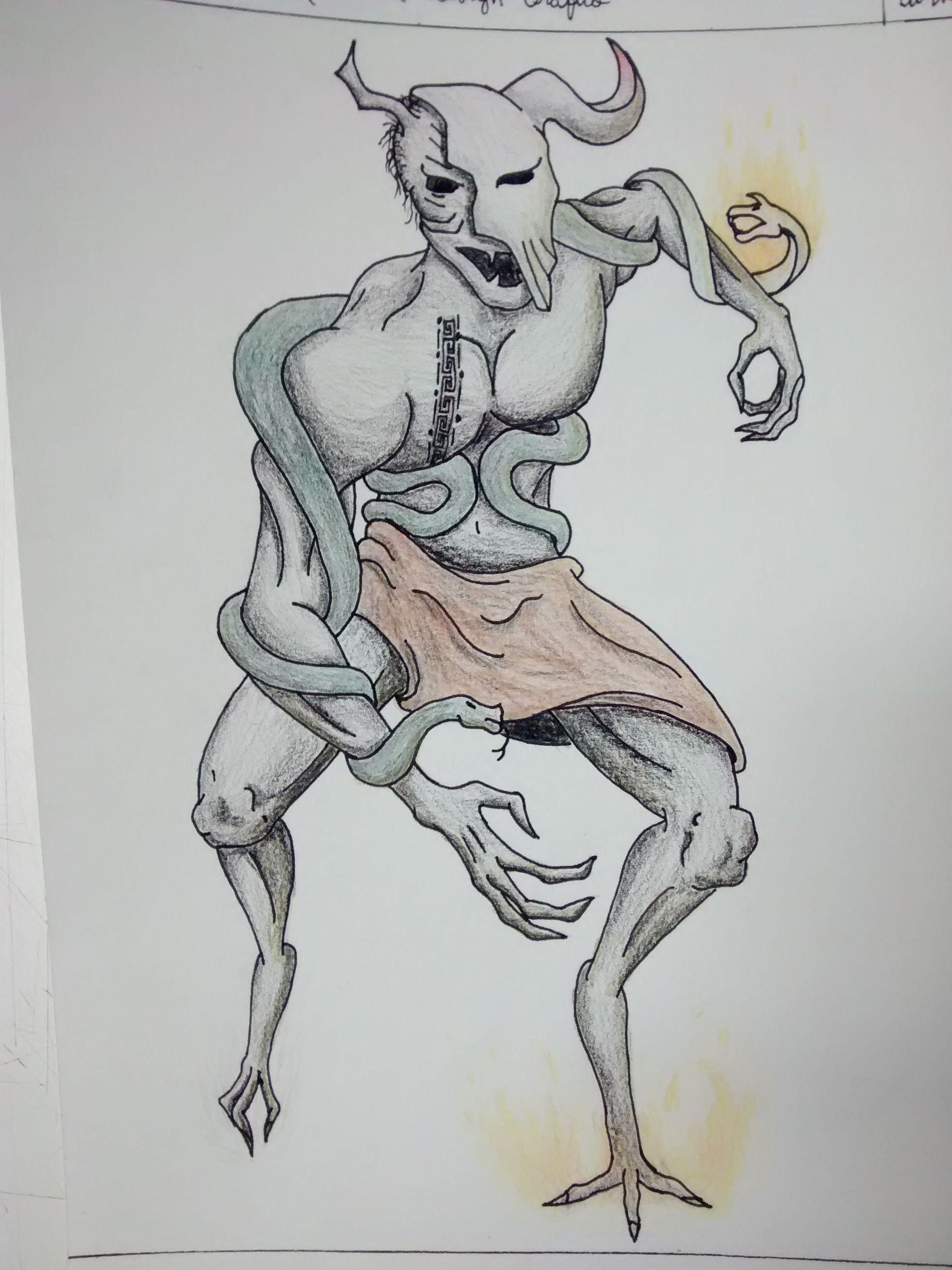 Criação do personagem Iorotá, o Espírito Maligno do Fogo, uma releitura da lenda do Boi Tatá.