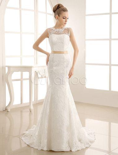 Vestido de noiva marfim sereia em renda e cetim com laço e decote nas costas - Milanoo.com