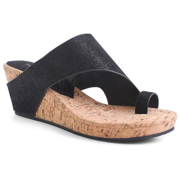Donald J Pliner Women's Gille- Black (8.5) ($198) ❤ liked on Polyvore featuring shoes, black, metallic, wedge sandal, black open toe shoes, wedge heel shoes, metallic wedge shoes, kohl shoes and distressed shoes