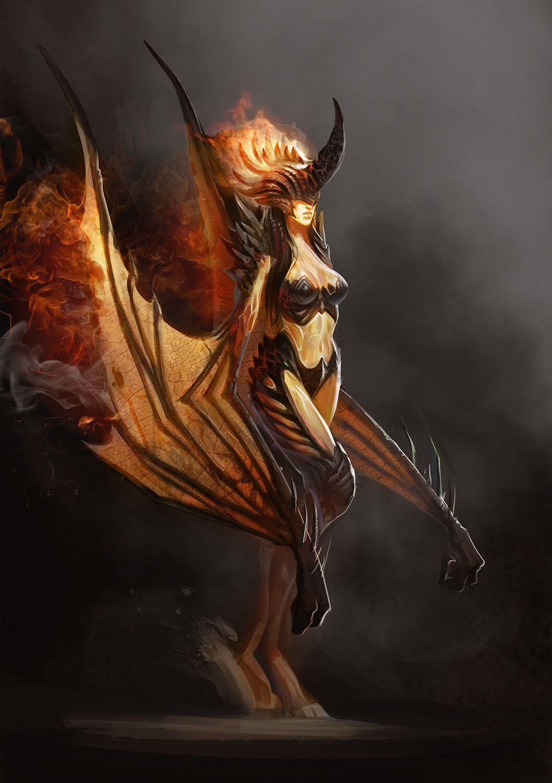 Ruslan Kurmanbekov Female Demons Fantasy Monster