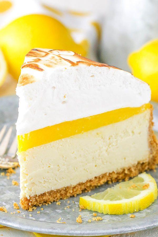 Lemon Meringue Cheesecake Lemon Meringue Cheesecake! A graham cracker crust, creamy cheesecake, tart lemon topping and toasted meringue!