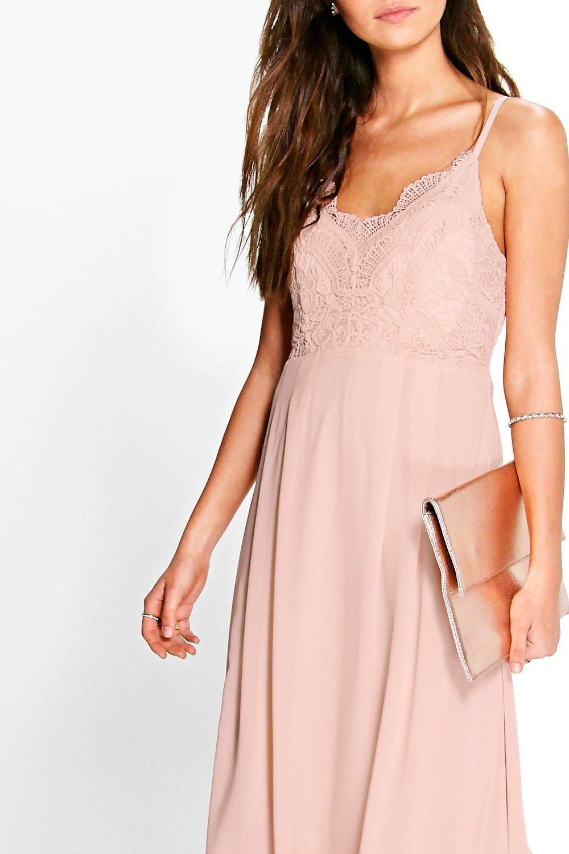 Crochet Lace Strappy Chiffon Midi Bridesmaid Dress