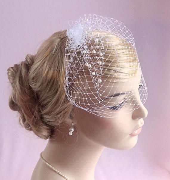 ivory small birdcage white beige silver gold Style 612 Russian veiling wedding bird cage veil pink bridal birdcage veil with pearls