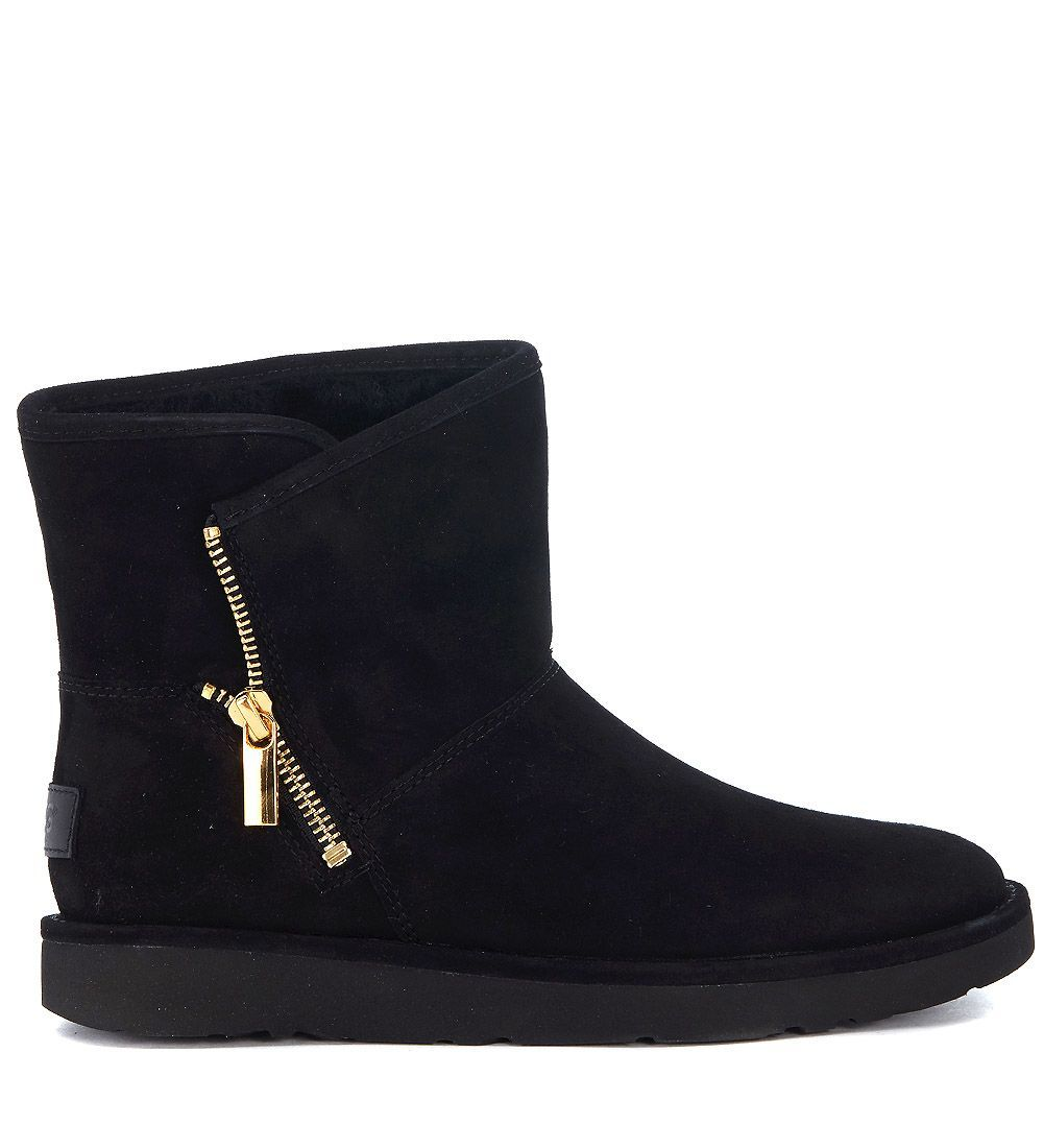 713f9bae069 UGG UGG MINI KIP ANKLE BOOTS IN BLACK SUEDE LEATHER WITH ZIP. #ugg ...
