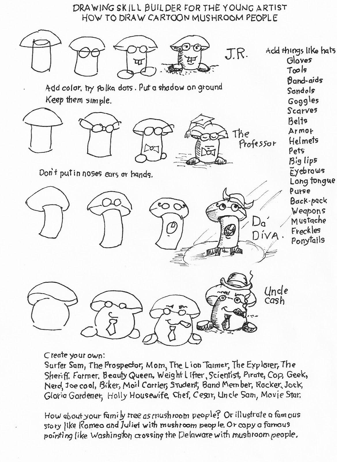 How To Draw Cartoon Mushroom People
