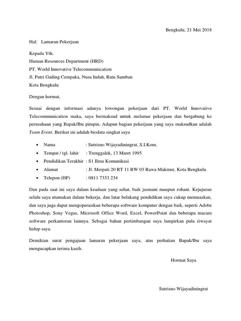 50 Contoh Surat Lamaran Kerja Linmas Surabaya Surat Kerja Human Resources