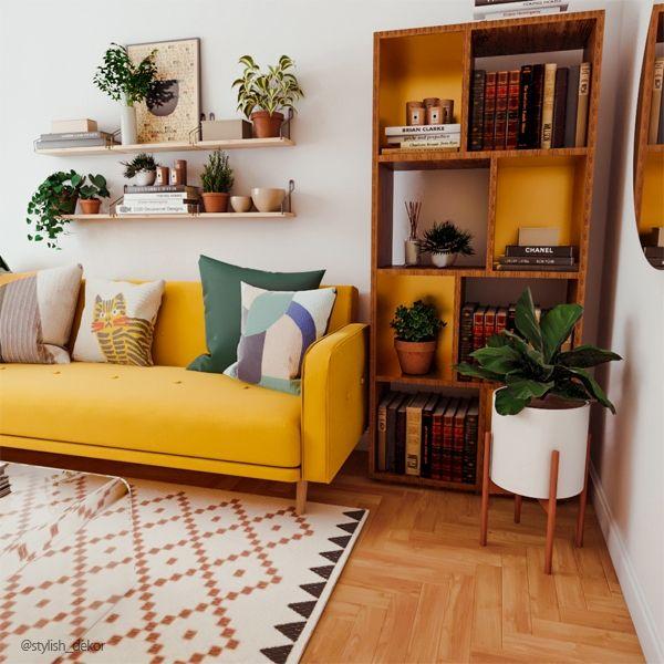 Photo of Refresh Small Living Room with Yellow Sofa – Stylish Dekor
