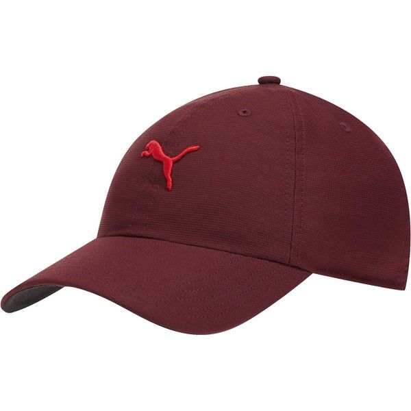 Puma Cat Women's Adjustable Golf Hat ($12) ❤ liked on Polyvore featuring accessories, hats, italian plum, curved brim hats, embroidery hats, adjustable hats, curved brim fitted hats and puma hat