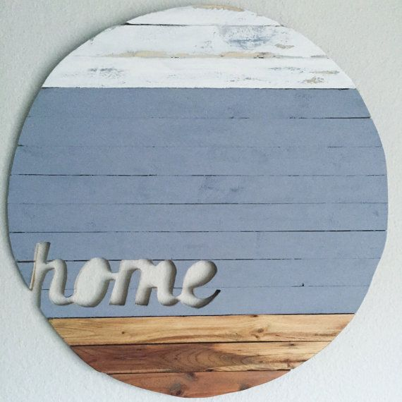 Lower Part Of Wall With Accent: 22 Slated Wood Round With Blue Grey And White Accent