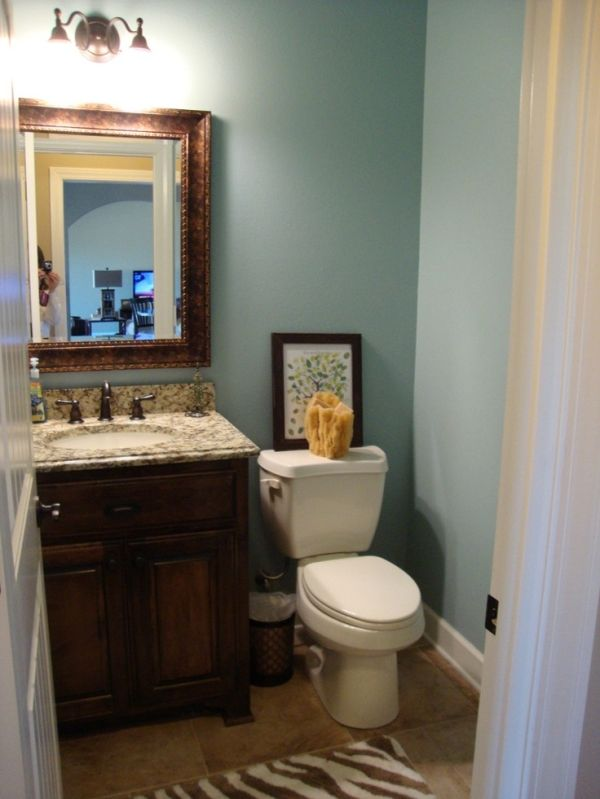 Love This Paint Color Sherwin Williams Rain By Ruby Small Bathroom Paint Small Bathroom Colors Painting Bathroom