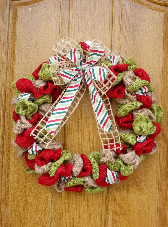 18 inch christmas burlap wreath (35.00 USD) by BurlapCreationsNMore