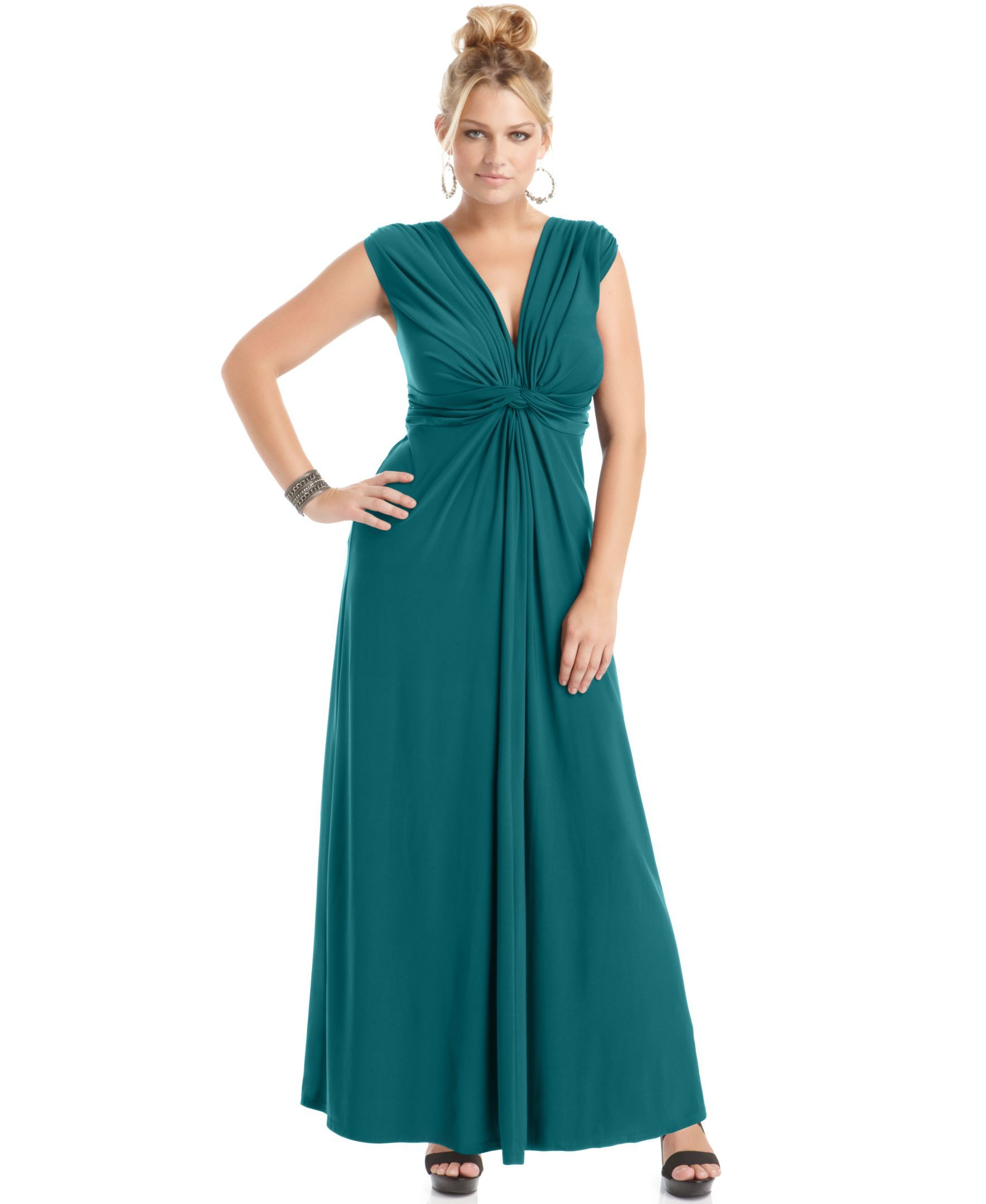 Love Squared Trendy Plus Size Sleeveless Knotted Maxi Dress | Shops ...