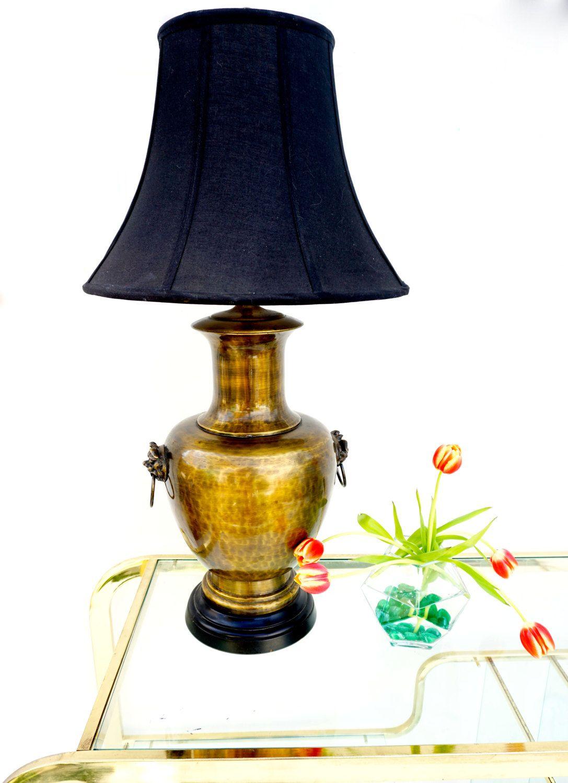 Large Brass Foo Dog Urn Lamp Vintage Hammered Brass Table Lamp