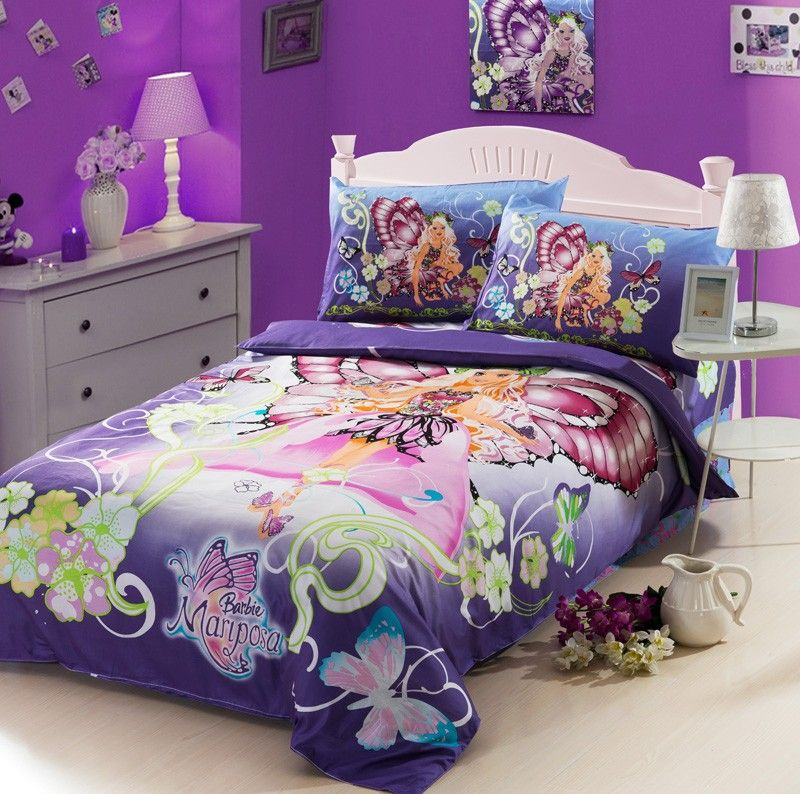 Barbie Purple Kids Duvet Cover Bedding Sets Kids Bedding