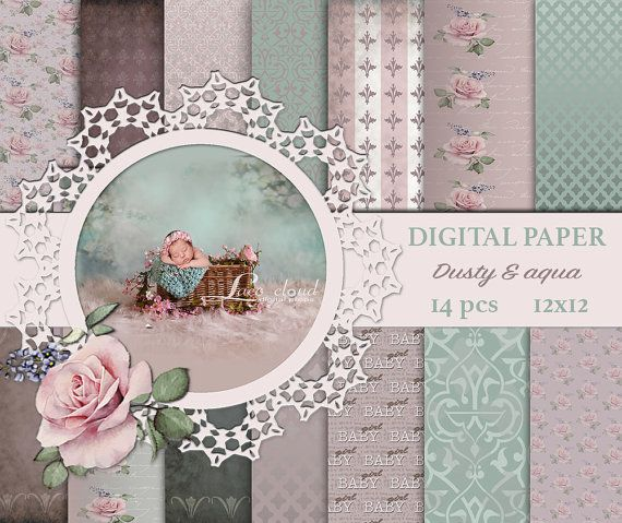 Digital paper pack Dusty aqua background pearl by LaceCloudStudio
