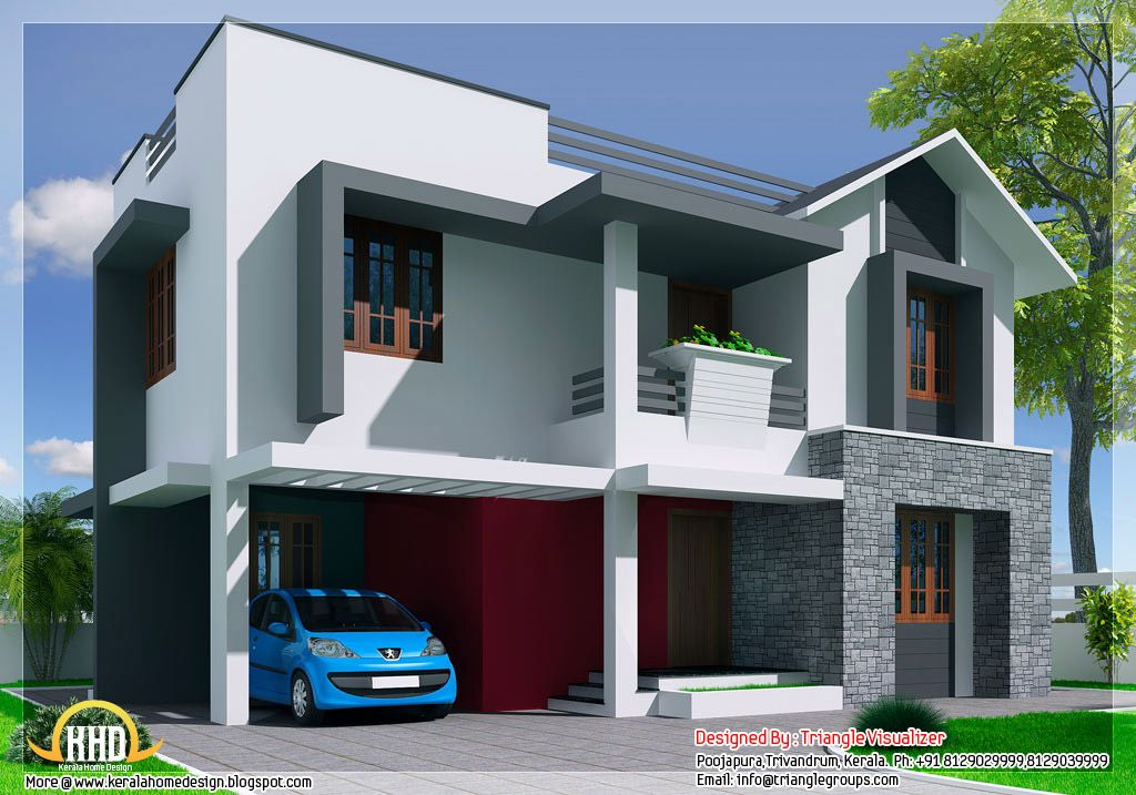 3 Bedroom Modern House Design Delectable Mix Bedroom Kerala House Design Triangle Homez Trivandrum Kerala 2018