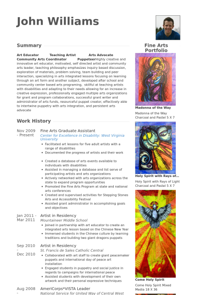 resume for fine artist example