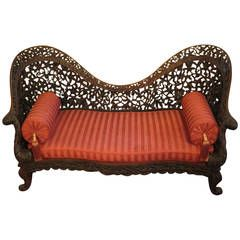 Anglo-Indian Settee, Late 18th or Early 19th Century Carved Rosewood