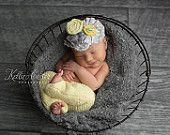 Newborn Baby Girl Upcycled Pants and Headband Photography Prop