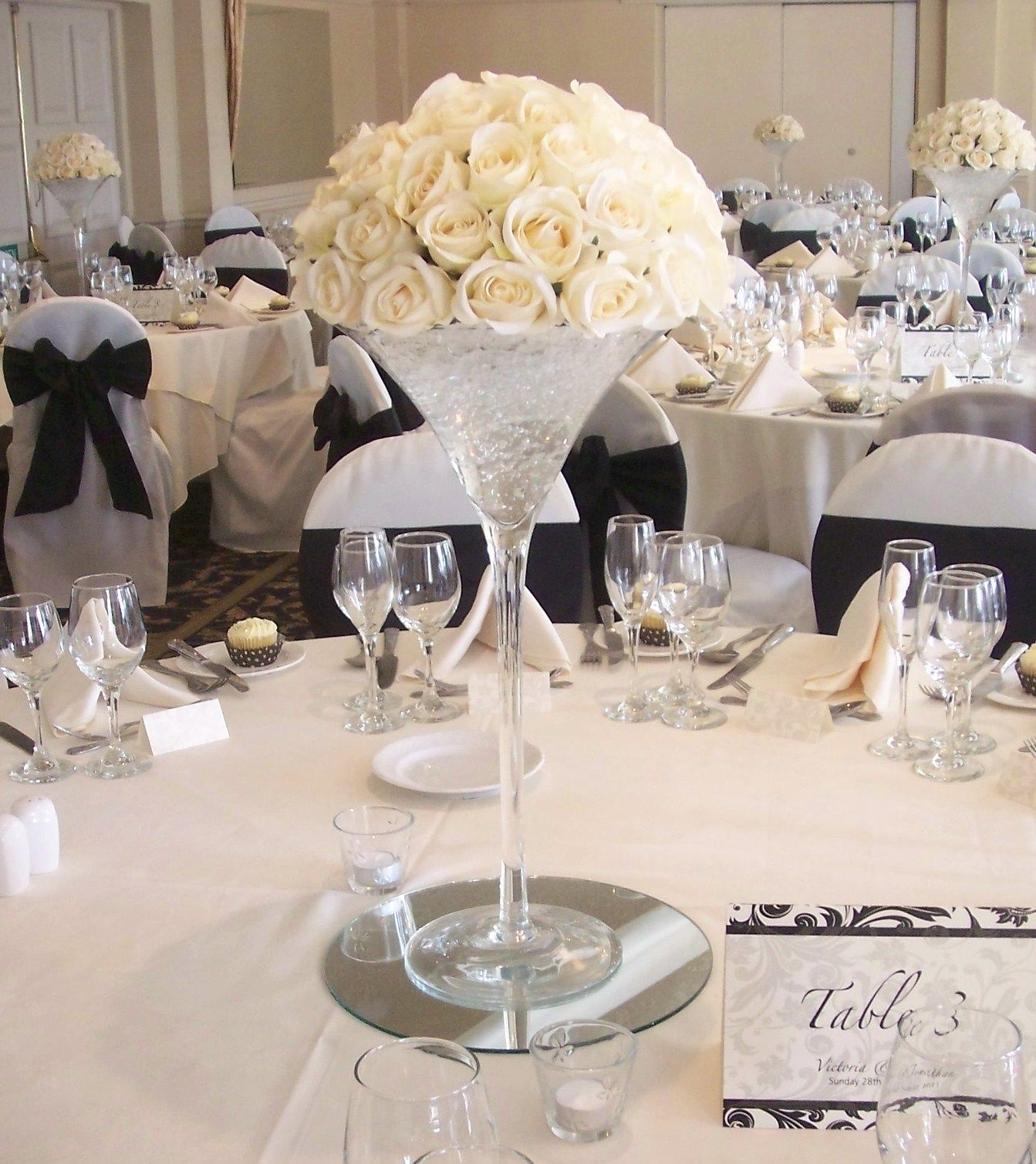 Martini Vase with Ivory Roses Wedding Tables