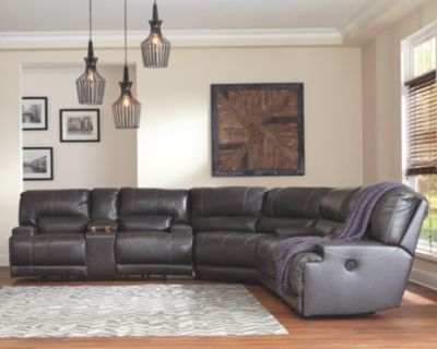 Mccaskill 3 Piece Sectional W By Ashley Home Gray Leather