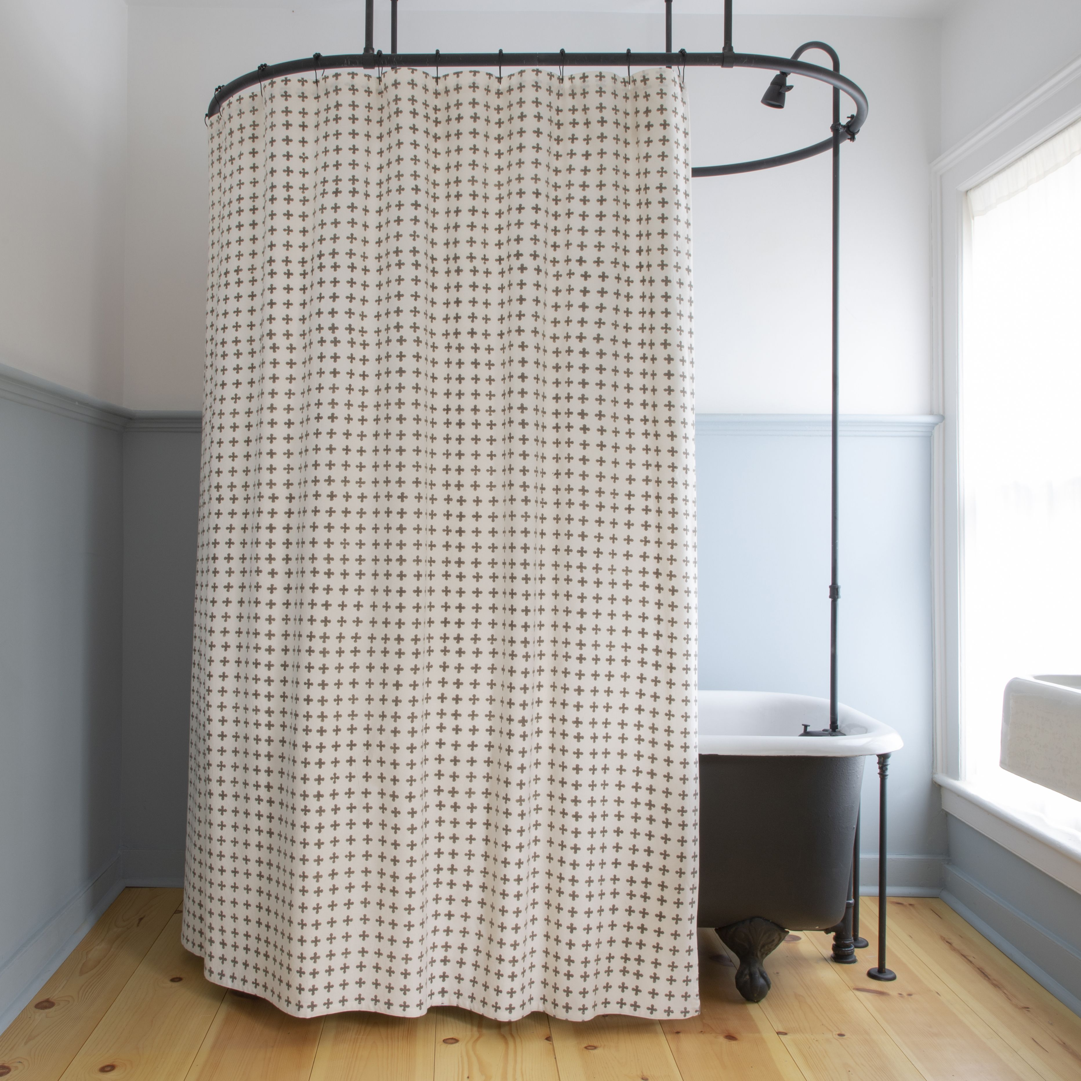 Petite Croix Shower Curtain In French Grey Small Shower Remodel Shower Remodel Tub To Shower Remodel