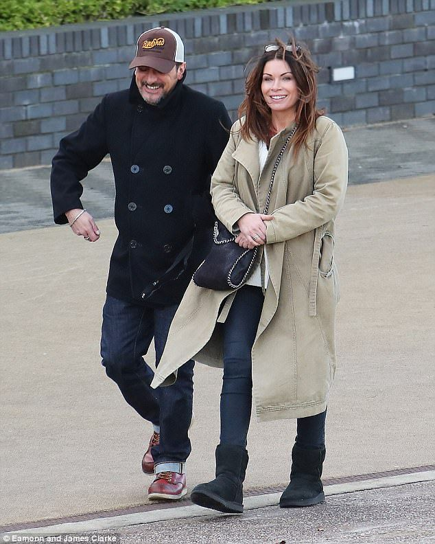 Reunion: Alison King, 44, was spotted rehearsing her scripts with former on-screen flame Chris Gascoyne, 49, who plays Peter Barlow on the soap on Thursday afternoon