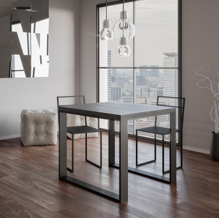Tavolo allungabile Quadrato 90x90 cm Cemento Minimal nel
