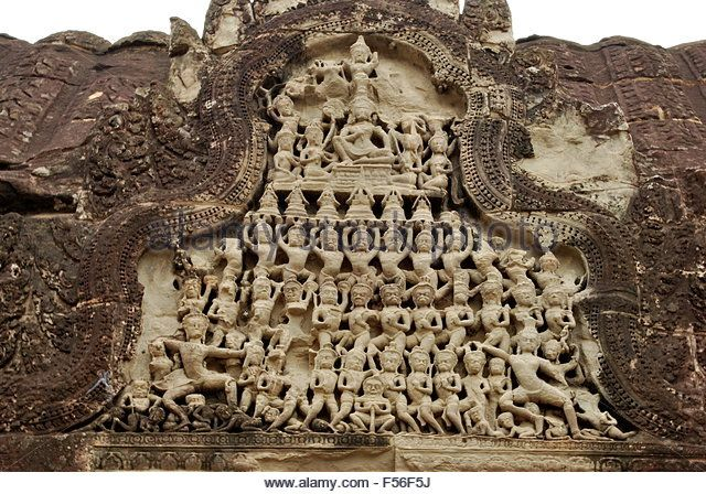 Ancient khmer bas relief frieze of the hindu gods wall