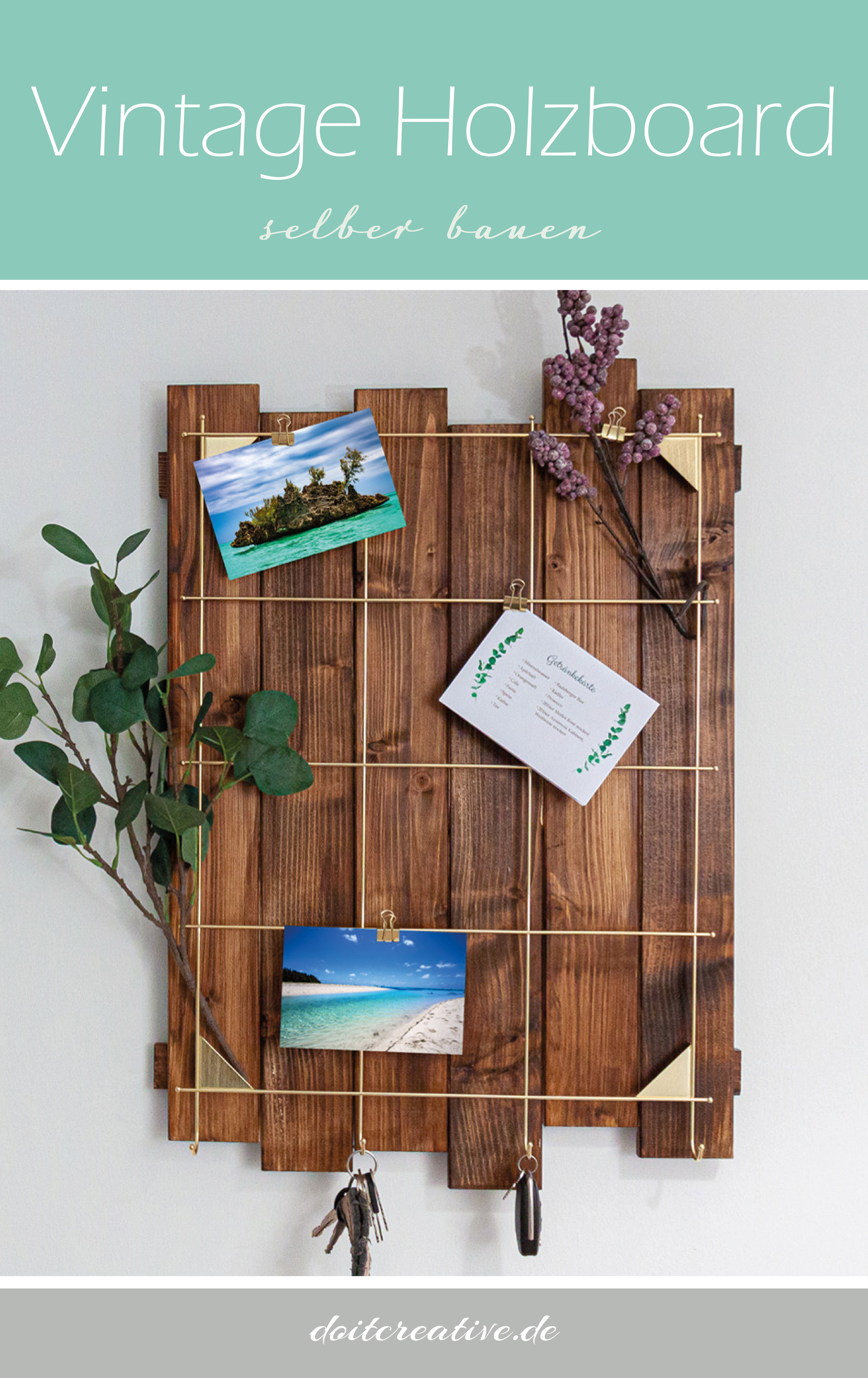 DIY Holzboard als Organizer im Flur