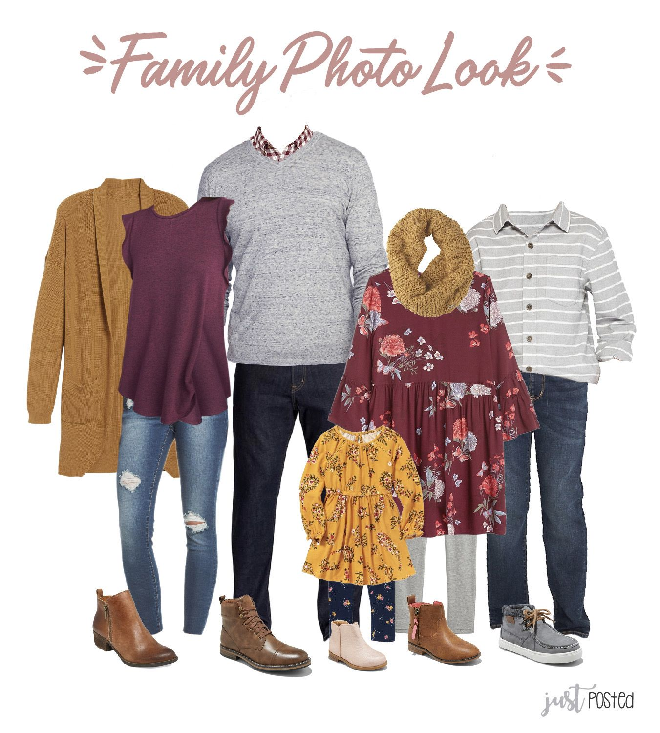 Yellow & Plum Family Picture Look  Fall family photo outfits