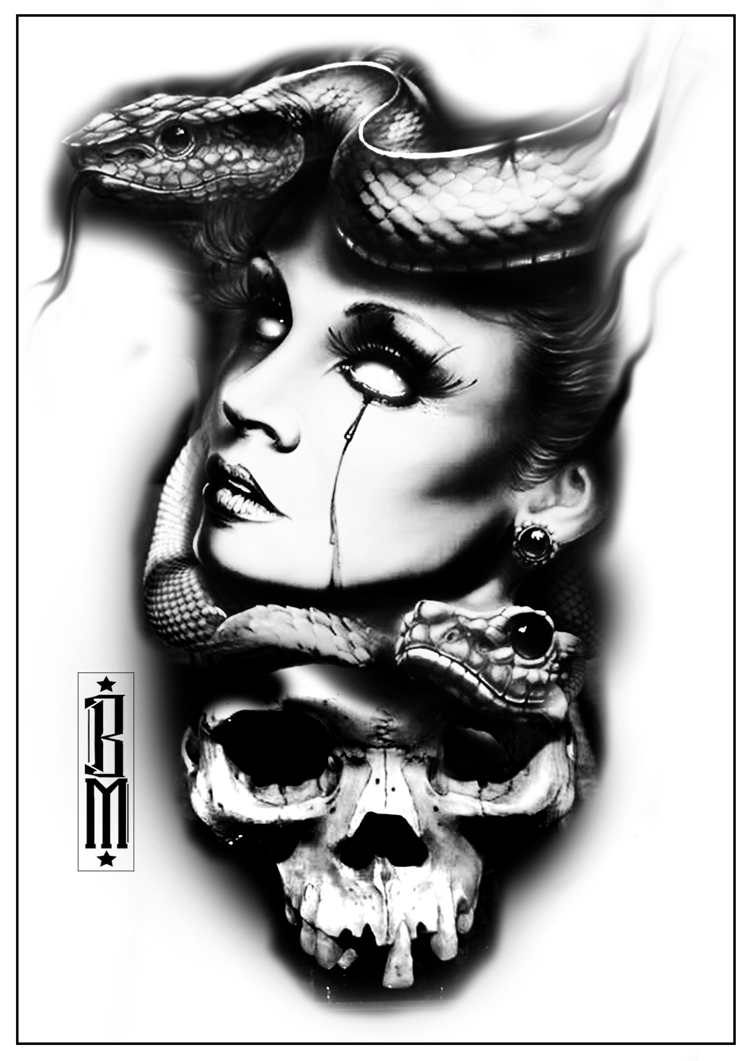 Black And Grey Tattoo Stencil: Skull Snake Face Medusa Scarry Face Women Black And Grey