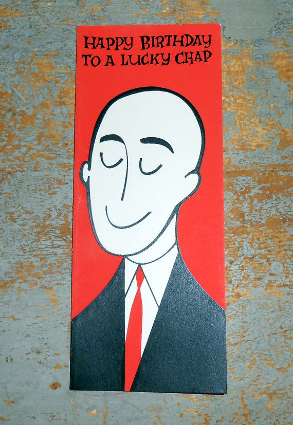 Vintage Cards Birthday Card Greeting Bald Guy By TheBackShak 250