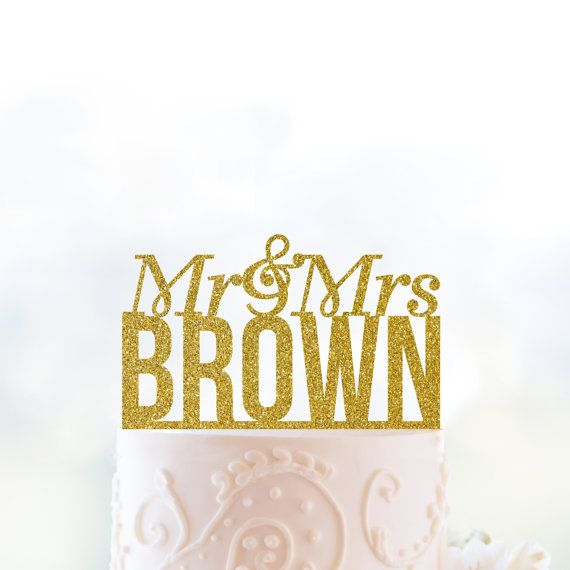 Glitter Personalized Mr and Mrs Last Name Wedding Cake Topper in ...
