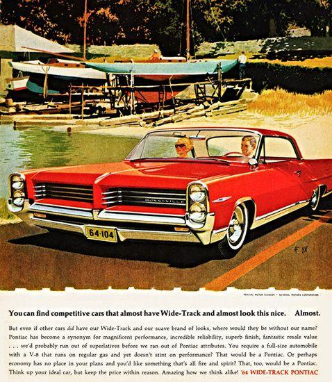 Pontiac Bonneville Sports Coupe 1964 Almost | Mad Men Art | Vintage Ad Art Collection