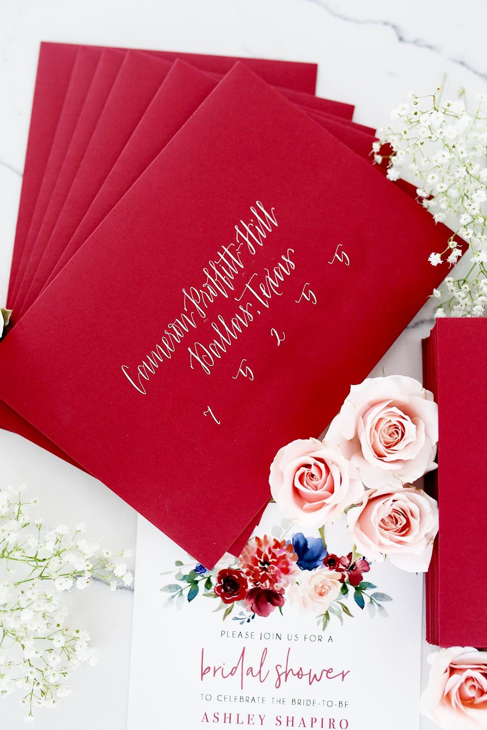 16 Creative Ways to Use Calligraphy - Burgundy wedding invitations ...
