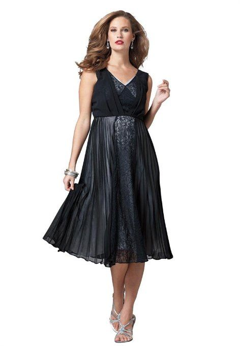 This Elegant Plus Size Dress With Pleated Lace And Empire Waist By
