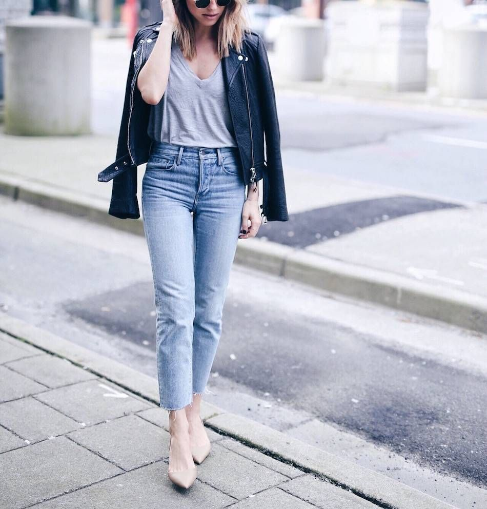 How To Wear Kitten Heels The August Diaries Denim Fashion Kitten Heels Outfit Leather Jacket Outfits