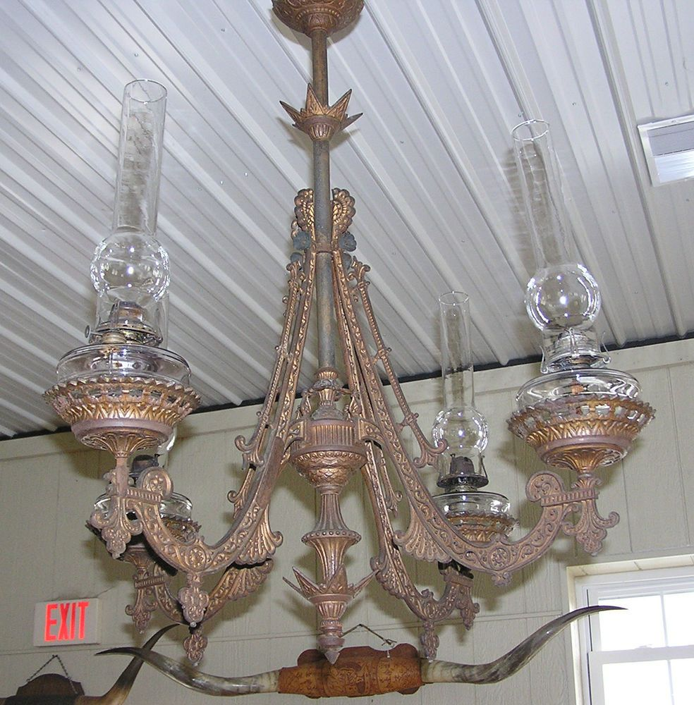 1880 S Victorian Cast Iron 4 Arm Oil Lamp Hanging Large Ceiling