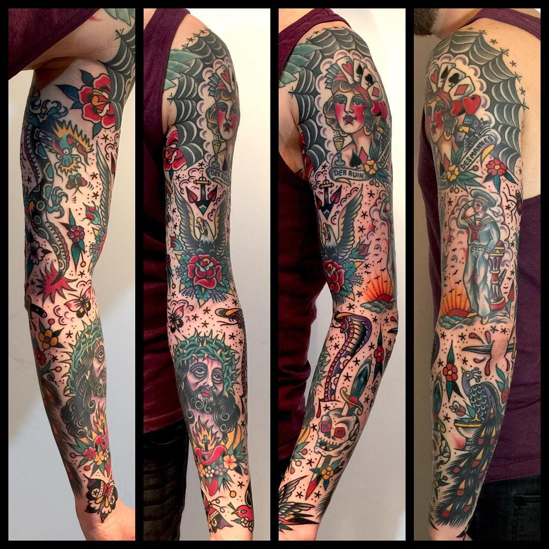 Traditional Tattoo Sleeve Filler: CHRISTIAN OTTO Expert Tattooer At Palma De Mallorca's