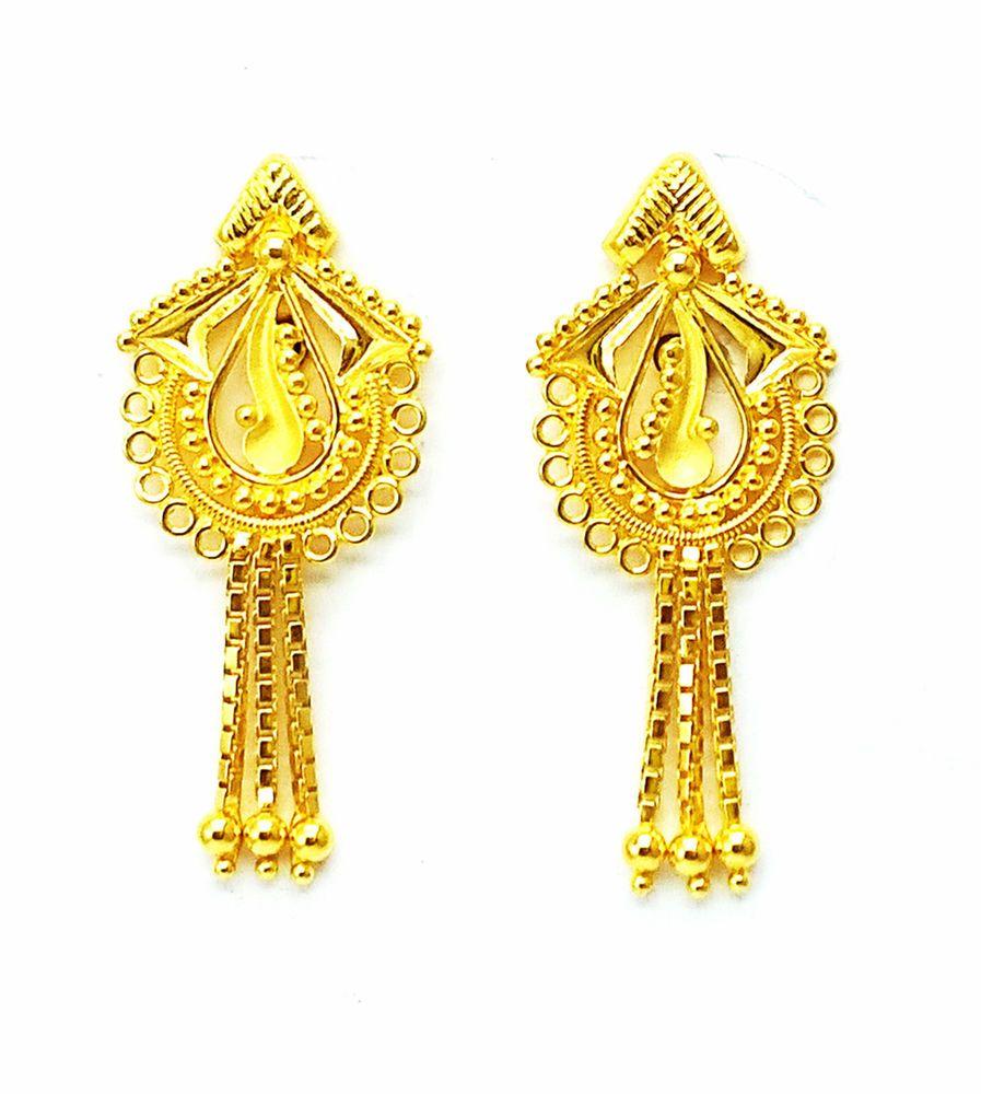 Gold Earrings Handmade Stylish Different Design 22k(916 Gold ...