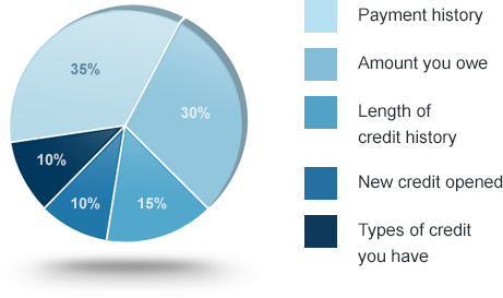 Fico Credit Score Calcuation Pie Chart Credit Score Pinterest