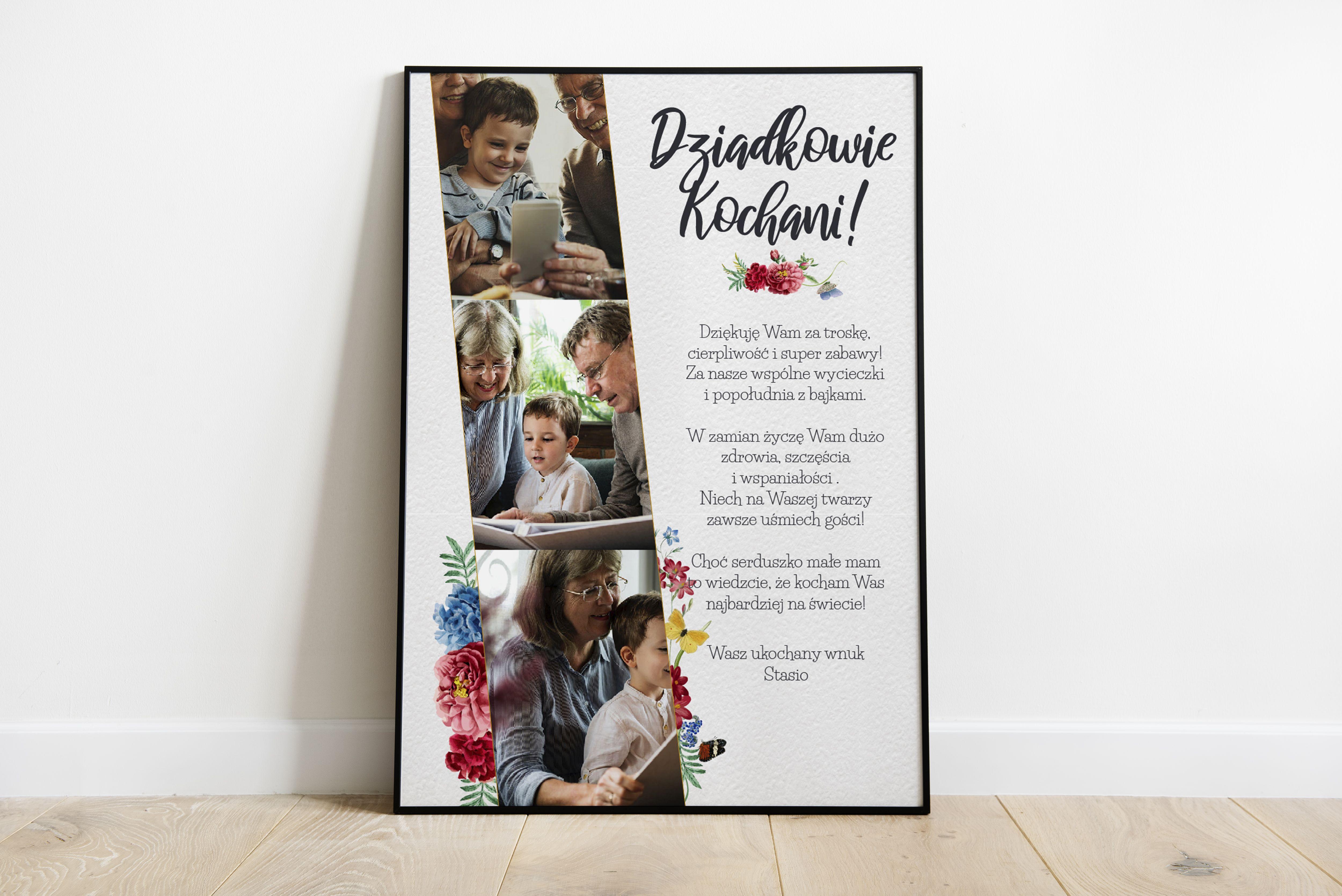 Personalizowany Plakat Dla Babci Lub Dziadka W Czarnej Ramce