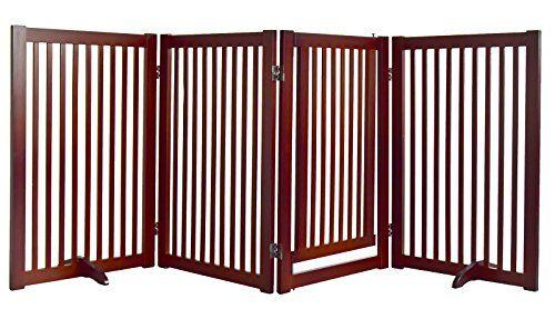 WELLAND Freestanding Wood Pet Gate with Small Door, 88-In...
