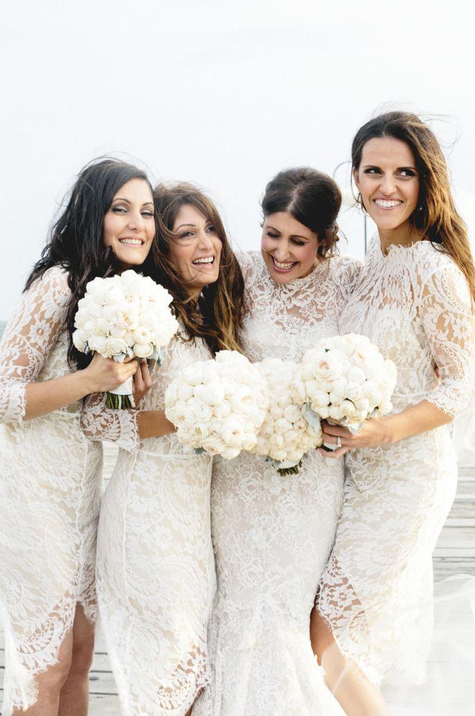 bride - bridesmaids - white lace | by bek smith | Bridesmaid Dresses ...