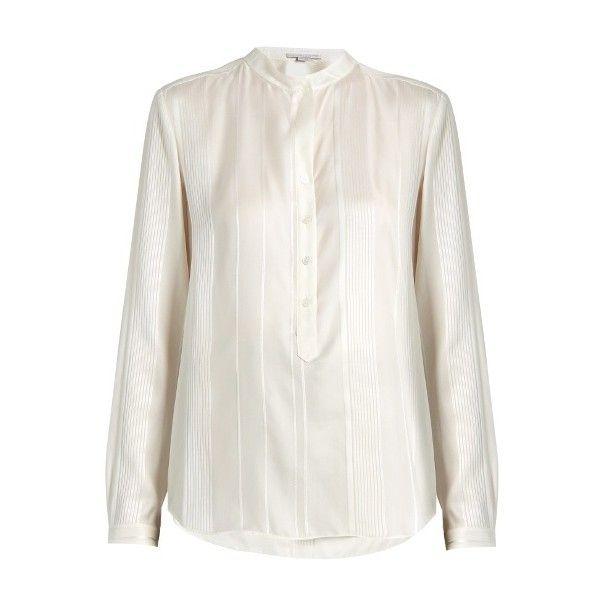 Stella McCartney Eva twisted-stripe silk shirt ($494) ❤ liked on Polyvore featuring tops, cream, white mandarin collar shirt, cuff shirts, stripe top, white stripes shirt and white striped top