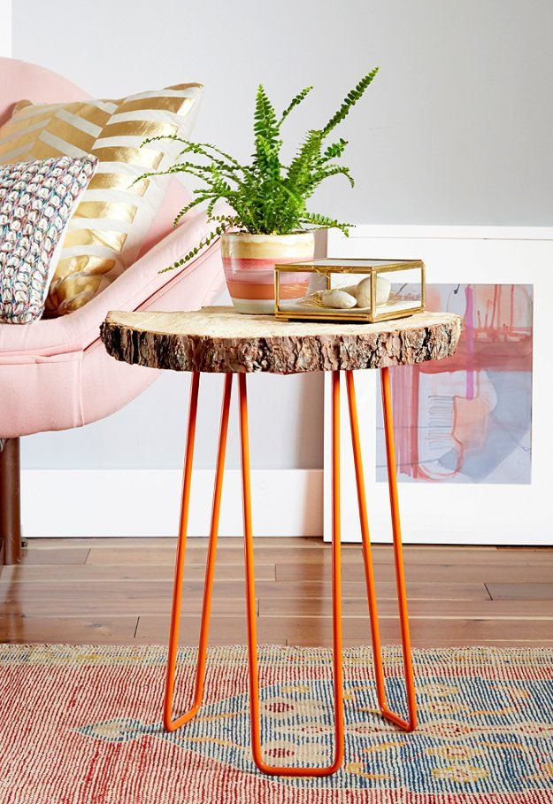 75 Best Diy Ikea Hacks Diy Side Table Tree Slab Natural Home Decor